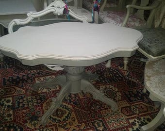 Handpainted shabby chic vintage Rococo style coffee table...