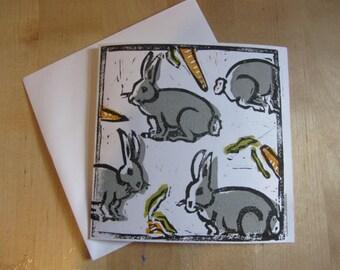 Grey rabbit Lino print greetings card