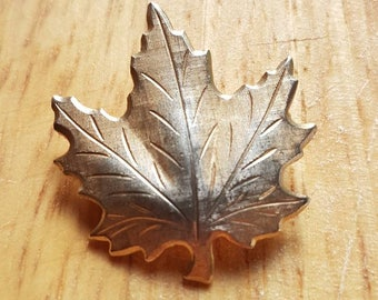 Vintage 1960s gold and silver metal sycamore leaf brooch with safety roller clasp