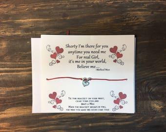 Method man-your all I need wish bracelet .heart charm bracelet .Heart wish bracelet .Couples gift.anniversary card