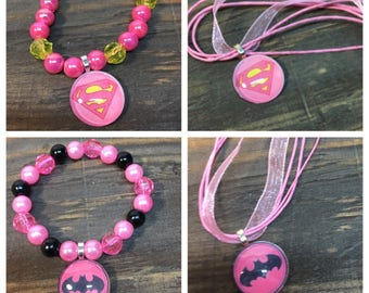 Batgirl party favors.Supergirl party favors.Batgirl bracelet .supergirl bracelet.Batgirl necklace.Supergirl necklaces .