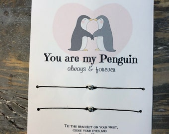 You are my Penguin wish bracelet.Couples wish bracelet.Boyfriend Girlfriend bracelets.Penguin wish bracelet.Friendship wish bracelet