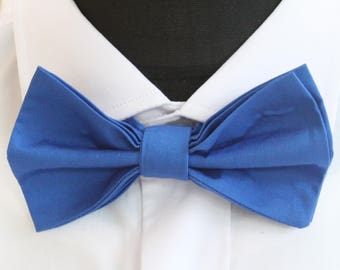 Bow Tie. UK Made.Bright Blue. Cotton. Premium Quality. Pre-Tied.