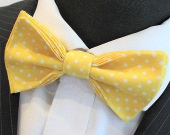 Bow Tie.UK Made. Sun Yellow /White Polka Dot. Cotton. Premium Quality. Pre-Tied.