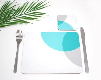 Colourful cork based Placemats | Blue and Grey | Tabletmat set | Colour Pop | Table Setting | Modern Home | Scandi Home | Place mat