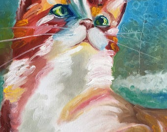 Ginger cat painting Orange cat Cat on canvas Funny animal art Animal wall art Pet painting For cat lovers Kitty painting Cat lover gift