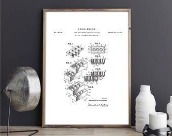 Lego brick patent print art - Vintage printable patent poster artwork drawing - Instant Digital download - Wall art decor - Blueprint