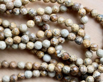 4mm Faceted Picture Jasper beads, full strand, natural stone beads, round, 40017