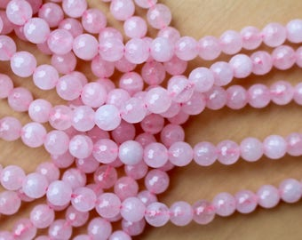 8mm faceted Rose Quartz beads, full strand, natural stone beads, round, 80118