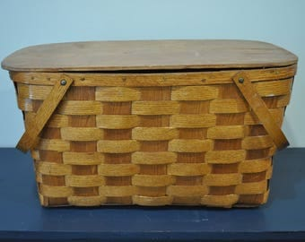 Antique Woven Oak Picnic Baskets