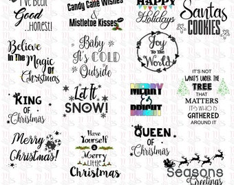 Christmas SVG Pack, Digital Download SVG Cutting File, Silhouette, Cricut, Wordart, Xmas, Christmas
