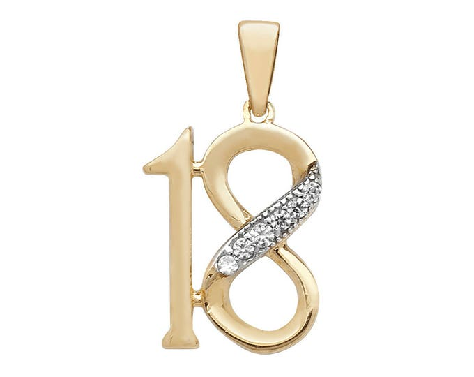 9ct Yellow Gold 18th Birthday Pendant Pave Set With Cubic Zirconia