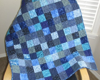 Blue Blocks baby quilt toddler quilt