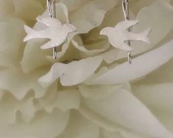 SOLID STERLING SILVER - Love Birds Earrings