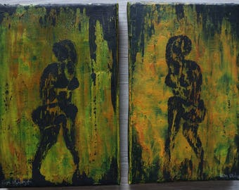 As we walk, we meet / Original painting / woman / 2 paintings
