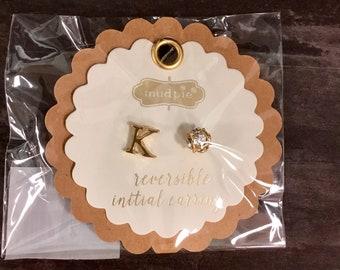 K Initial Earrings Reversible
