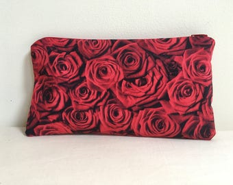Notions Bag, Notions Pouch, Pencil Case, Phone purse, Makeup Bag, Valentines Day, Red Roses