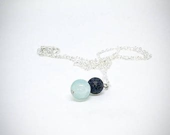 Black & Blue Lava Stone Diffuser Necklace For Essential Oils - Jewelry
