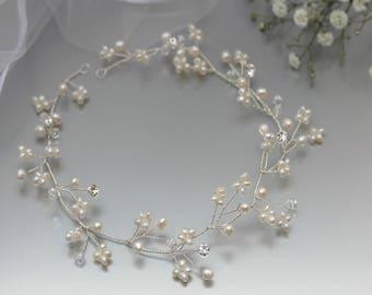 Gypsophila Hair Vine, Babys Breath Hair Vine, Delicate Silver Hair Vine, Gold Hair Vine, Pearl Wedding Hair Vine, Pearl Hair Wreath, Bridal