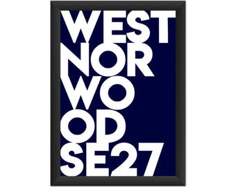West Norwood Typography SE27 - Giclée Art Print - South London Poster
