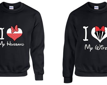 Valentine Gifts I Love My Husband / Wife Disney COUPLE Printed Adult Sweatshirts Unisex  Crew Neck Shirts for Men Women Matching Clothes