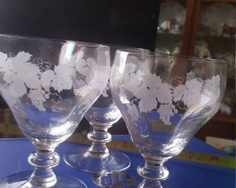 Hand Blown Antique Victorian Rummers,Beer,Cider etched and engraved.