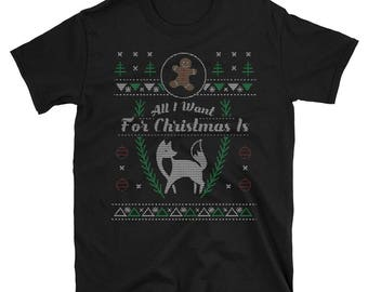 Pet Fennec Fox All I Want For Christmas Xmas Ugly Sweater Shirt