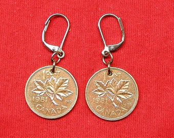 1981 earrings made with real under 1981 Canadian