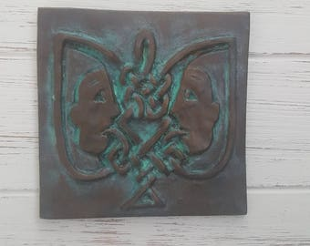 Gemni wall art, Zodiac tile, Astrology air sign, Astrological signs, twins, Horoscope, unique, Wall tile, Celtic knot, gift, ceramic plaque