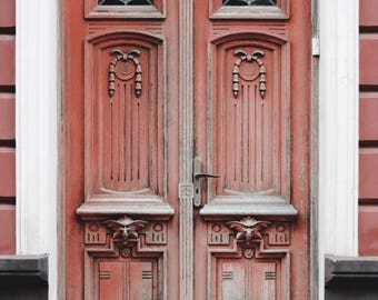 Red old doors photography print wood doors large wall decor architecture photo print vintage doors vertical photography modern wall art