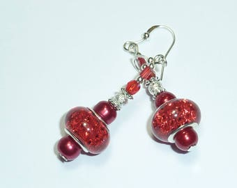 """red glitter ball"" Murano Silver Earring jewelry"