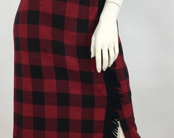 1990s red black checkered skirt