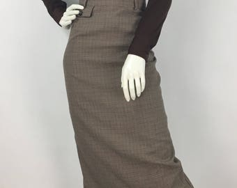 Daniel Hechter vintage skirt, 80s houndstooth plaid skirt, 1980s plaid midi