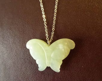 green jade Butterfly Necklace