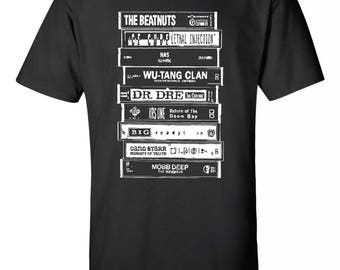 Hip-Hop Rap Culture 90's Mash Up Tee Dre. Wu-tang Nas Gang Starr