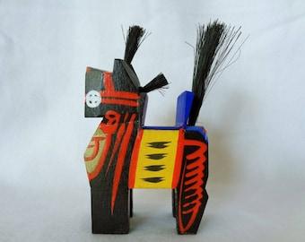 1225:Miharu-goma Horse Folk crafts,Vintage Black Miharu-goma figurine,handcrafted in Japan from wood