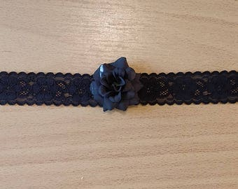 Black Lace Choker With Black Rose