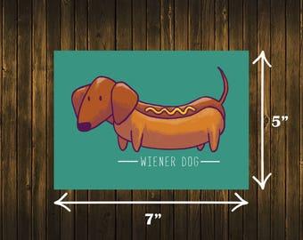 Wiener Dog Print Dachshund Doxie Doxies Hot Dog Art
