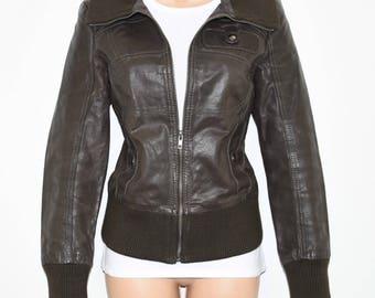 Vintage Brown Leather VERO MODA Hips Length Flying Zip Coat Jacket Size M