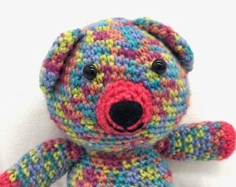 Crochet Teddy Bear, Amigurumi Bear, Rainbow Teddy bear Plush Toy, Crocheted Bear, 100% Wool Yarn