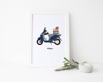 Vietnam Travel Art Print - Motorbike