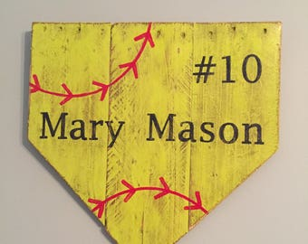 Home Plate Wall or Door Hanger - softball - Name Pate, Player Name- softball sign - baseball/softball, baseball, team gifts, player gifts