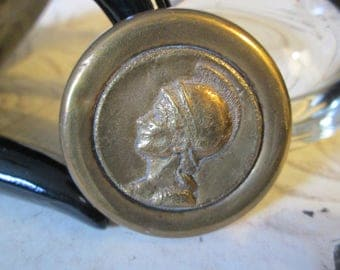 "Large Vintage Metal Picture/Story Button:  Mythological Head (possibly Minerva) (1-3/4"" across)"