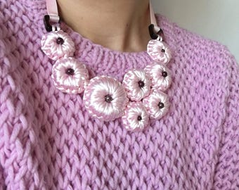Pink collar necklace Women crochet romantic jewelry Chunky bib wedding flowers delicate purple necklace Fabric textile modern accessory gift
