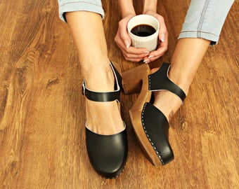 New LEATHER SANDALS high heel shoes platform wood beigie swedish clogs slippers leather clogs wood wooden clogs platform  sandals