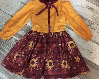 Little Girls Fall Sunflower Dress Size 4