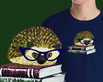 Adorable Hedgehog Book Nerd An Original Princess Pricklepants T-Shirt Design by Urchin Wear Cute Glasses Wearing Hedgehog Book Lover Gift