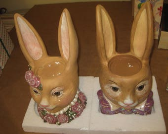 Pottery Rabbit-Shaped Candle Holders    [64448bs]