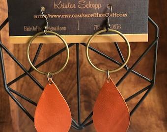 Flat Loop and Teardrop Leather Earrings