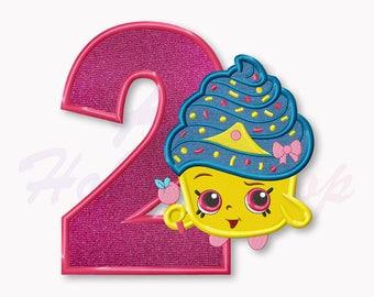 Shopkins Cupcake Queen Second birthday Applique Embroidery Design, Shopkins Machine Embroidery Designs, Digital Instant Download, #019